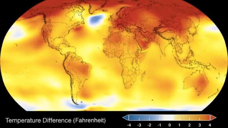 Global average temperatures compared to average. Yellows, oranges, and reds indicate warmer temps.