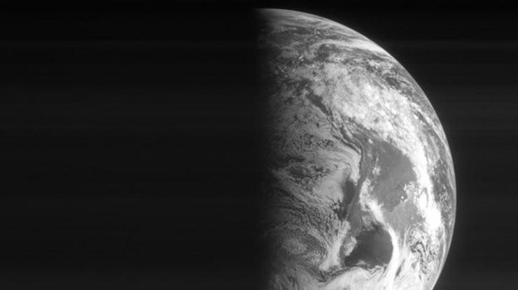 Half the Earth illuminated by the sun.