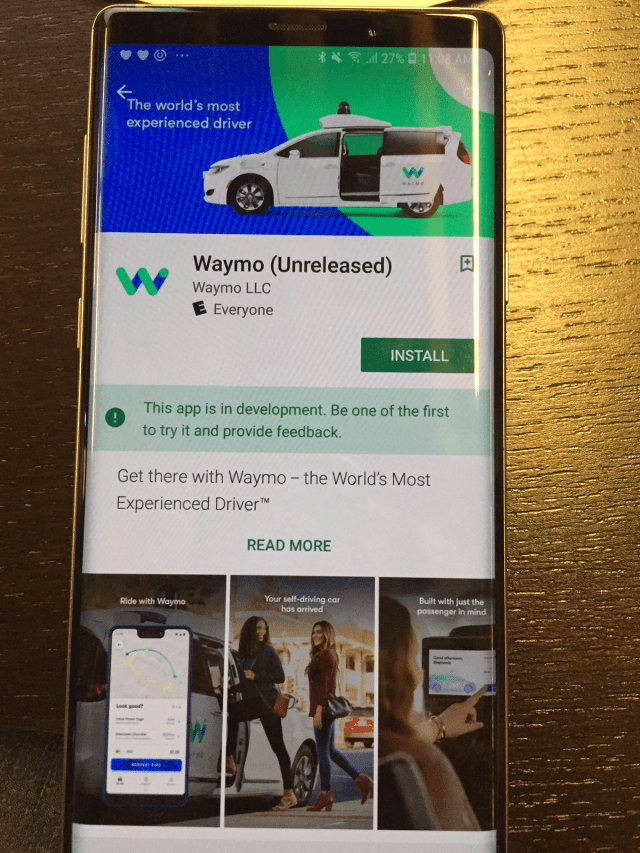 Waymo in the Google Play store.