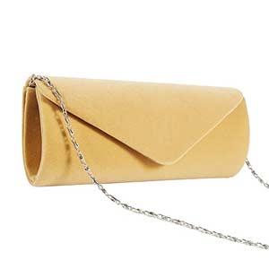 Bolso de mano de terciopelo dorado