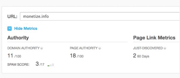 Check your DA on Moz Open Site Explorer