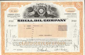 A Shell share certificate dating from 1981, but looking ancient.
