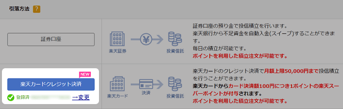楽天カード決済の積立設定手順7:楽天カードクレジット決済に変更完了