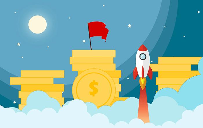 お金と空に打ち上げられたロケットのイラスト
