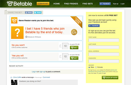 Betable bet