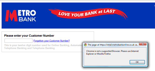 Metro Bank Chrome Problems