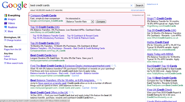 """Google """"best credit cards"""" search"""