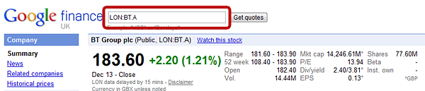 Google Finance Unit Code