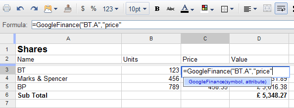 GoogleFinance function