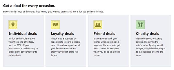 Facebook Deals deal types