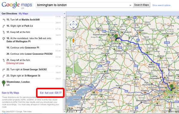 Estimate fuel costs with google maps money watch.