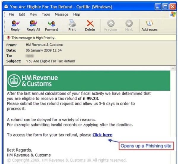 HMRC tax rebate scam email