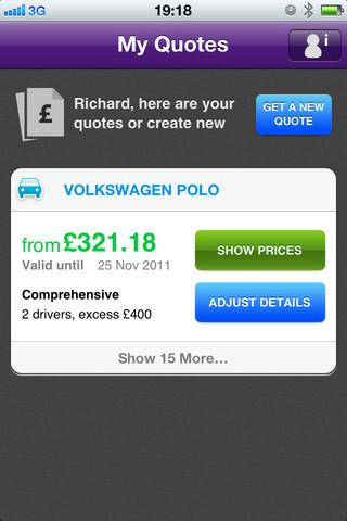 MoneySupermarket.com car insurance iphone app