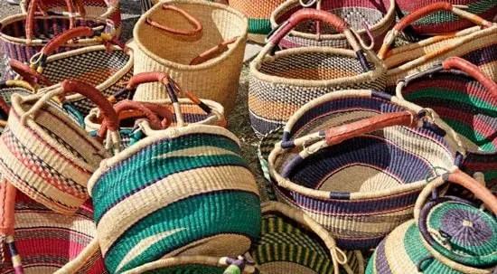 Weaving wicker baskets