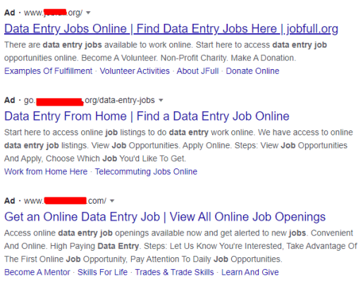 data entry jobs scam