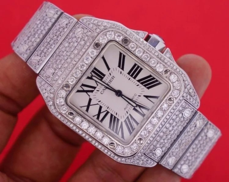 Cartier Santos de Cartier Iced Out Diamond Skeleton Watch