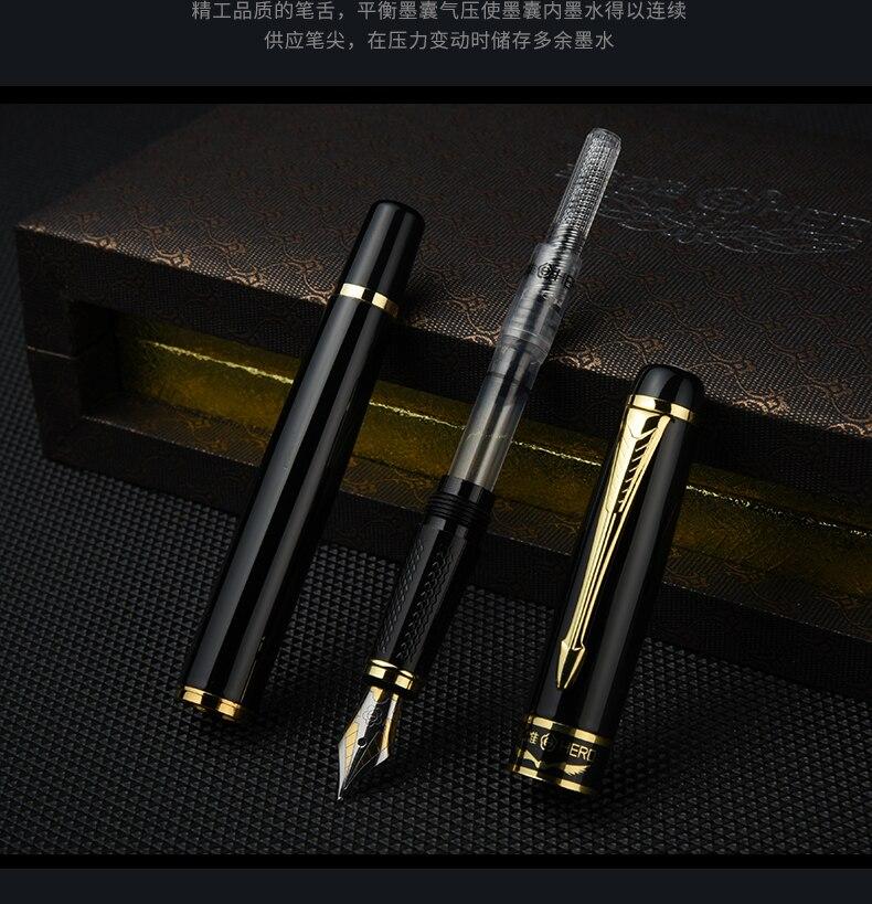 Hero 1501 Golden Eagle Fountain Pen Standard F nib Black bag packing high-grade