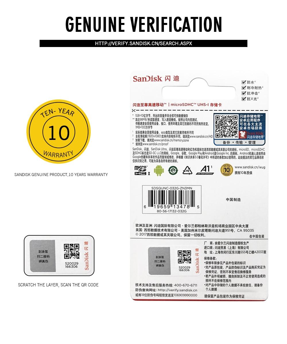 Smarphones Sandisk Ultra Micro SD 128GB 32GB 64GB 16GB Ultra Memory Card