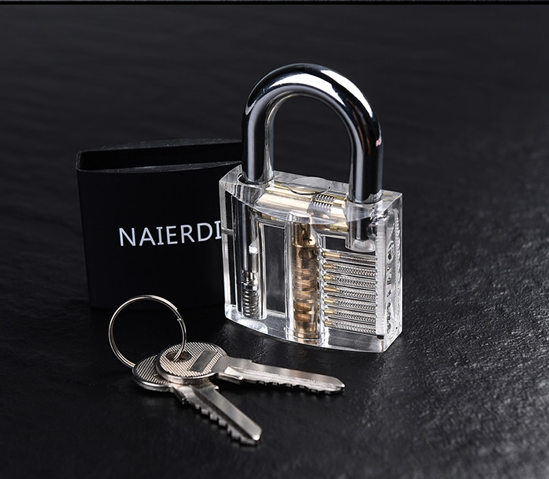 NAIERDI Locksmith Hand Tools Supplies Lock Pick Set Transparent Visible Practice Padlock With Broken Key Removing Hooks Hardware