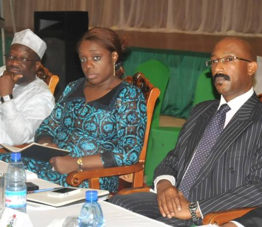 L-R: Permanent Secretary, Federal Ministry of Fance, Mrs. Kemi Adeosun and a representative of FBN Capital, Mr. Patrick Mgbenwelu, at the Knowledge Sharing Forum on PPPs as a Stable Financing Vehicle for Infrastructure in Nigeria..at the Presidential Villa, Abuja on Thursdayia..at the Presidential Villa, Abuja on Thursday