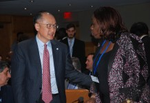 L-R: World Bank President, Jim Yong Kim with the Nigeria's Minister of Finance, Mrs. Kemi Adeosun, at the ongoing Spring Meetings of the IMF/World Bank in Washington DC