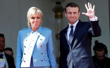 Macron with his wife IMAGE/VOA