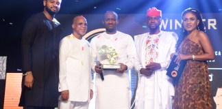 L:R: The Future Awards Africa Winner 2016, Mark Okoye; Chairman Troyka Holdings, Biodun Shobanjo; Winner Of The Future Awards Africa For The Young Person Of The Year, Samson Itodo, Co-Founder The Future Awards Africa, Adebola Williams and Portfolio Manager, Non-Alcoholic brands, Nigerian Breweries Plc., Ngozi Nkwoji presenting the Young Person Of The Year award at The Future Awards Africa 2018.