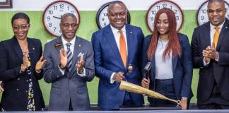 Company Secretary, Transcorp Plc, Ms Helen Iwuchukwu; CEO, Nigerian Stock Exchange(NSE). Mr. Oscar Onyema; President/CEO, Transcorp Plc, Valentine Ozigbo; Managing Director/CEO, Transcorp Hotels, Mrs Owen Omogiafo; and Executive Director, Transcorp Plc, Mr. Christopher Ezeafulukwe, during the closing gong ceremony at the floor of the NSE in Lagos on Tuesday
