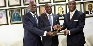 L-R: Roosevelt Ogbonna, Deputy Group Managing Director, Access Bank Plc.; Oscar N. Onyema, Chief Executive Officer, Nigerian Stock Exchange (NSE); Herbert Wigwe, Group Managing Director, Access Bank Plc, at the NSE listing of Access Bank Plc. N15 billion Green Bond.