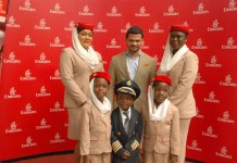 Emirates Senior Customer Sales and Service agent, Doris Akindele; Emirates Regional Manager, West Africa, Afzal Parambil; Emirates Customer Sales and Service agent, Mopelola Afonja, and some journalist's children at the Emirates Children's Day event held at Maryland Mall recently.