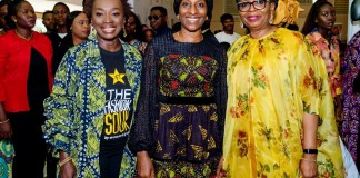 L – R: Mrs. Yewande Zaccheaus, Chief Executive Officer, Eventful Nigeria Limited and convener of the Fashion Souk; Her Excellency Mrs. Dolapo Osinbajo, Wife of the Vice President, Federal Republic of Nigeria and Mrs. Ibukun Awosika, Chairman, First Bank of Nigeria Limited at the Fashion Souk, recently held in Lagos.