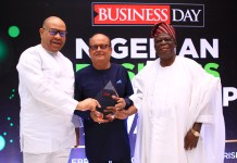 Haresh Keswani, Group Managing Director, Artee Group (middle) being congratulated by the Chairman, Artee Group, Asiwaju Solomon Kayode Onafowokan, OON (right) and Mr Emeka Onwuka, former Managing Director, Diamond Bank (left) at the BusinessDay Nigerian Business Leadership Awards 2019 at Lagos Continental Hotel over the weekend