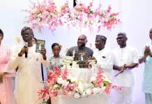 L-R: Mother of the Author, Ifeoma Mbonu; Governor of Lagos State Babajide Sanwo-Olu ; Author of Father's Will, Munachi Mbonu ; President Frot Group and Publisher of the book, Frank Momoh; Member, Board of Trustees, Anyiam-Osigwe Foundation, George Anyiam-Osigwe ; Principal Partner, J&G Attorney, Norrison Quakers, and Deputy Commissioner of Police & Commander Inspector General Response Team (IRT) Abba Kyari, at the launch of Munachi's book titled: ''Father's Will'', in Lagos
