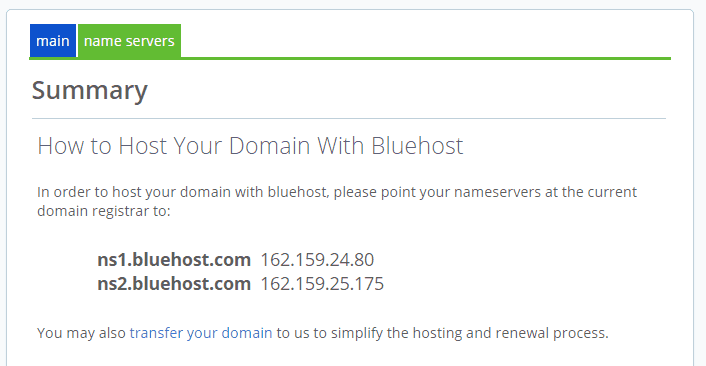 name server bluehost blog
