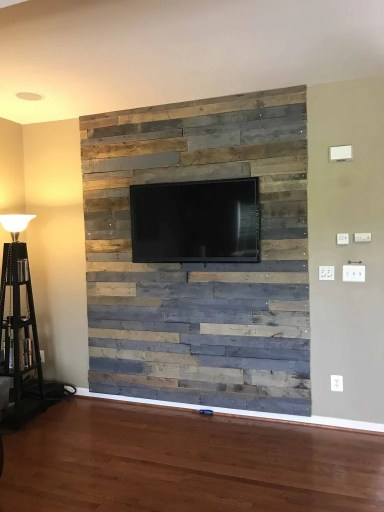 diy pallet wall finished