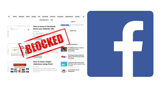 Why is my website URL blocked on Facebook? How can I unblock it?