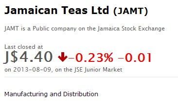 Jamaican Teas Stock Market Price @ Aug 9, 2013