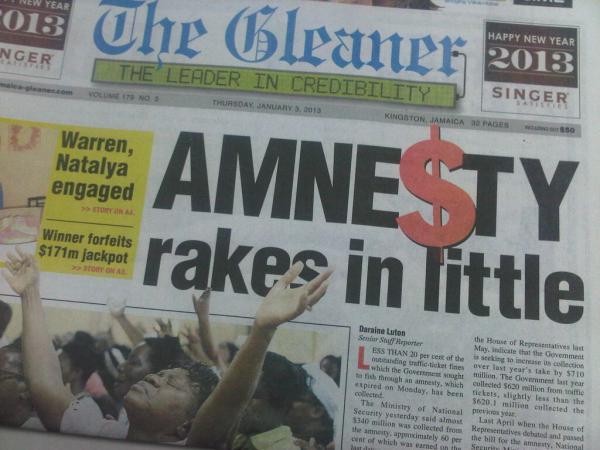 2012 Traffic Ticket Amnesty Gleaner 20130103