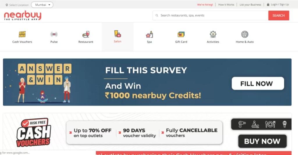 Nearbuy homepage screenshot