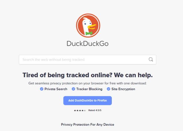 How does duckduckgo make money? Duckduckgo business model case study - home page image