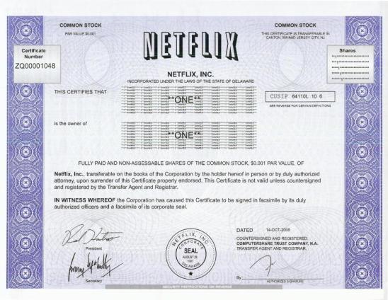netflix-stock-certificate