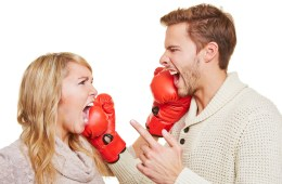 couple fighting with boxing gloves