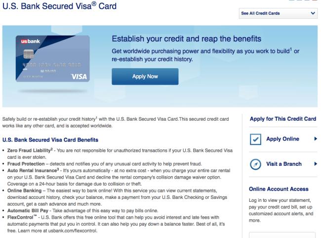 Secured Credit Card U.S. Bank
