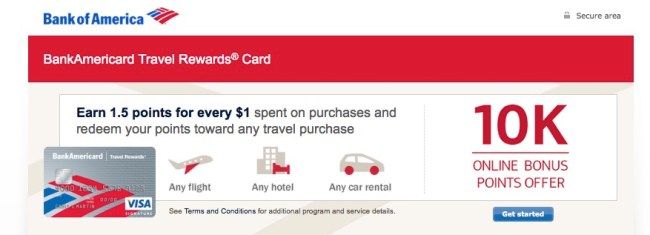 credit cards bank of america travel rewards card