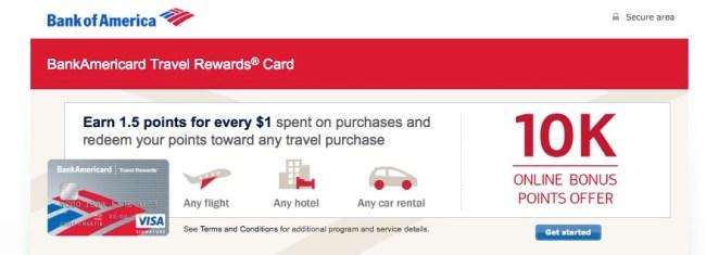 credit cards bank of america travel rewards card