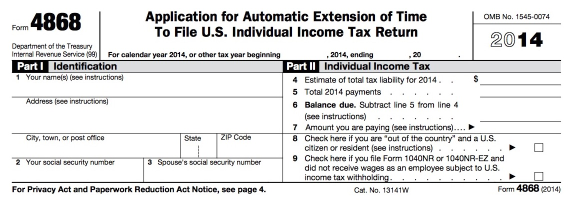 ... Tax Extension Form 4868