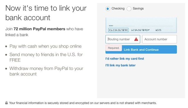 how to get a paypal account link bank account