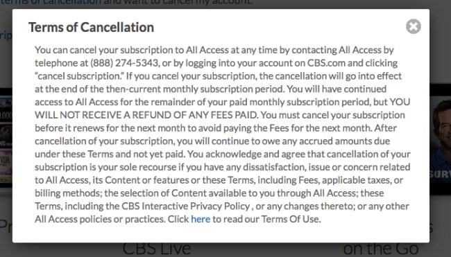 Terms of cancellation CBS all access