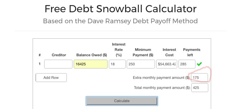 Free Debt Snowball Calculator 03