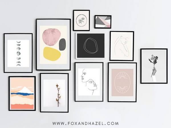 Fox + Hazel printable abstract art can be hung on the wall.